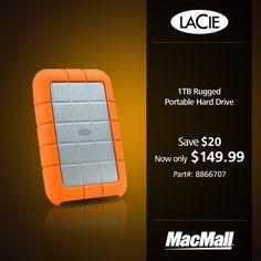 Save $20 on a 1TB rugged #LaCie portable hard drive at MacMall.