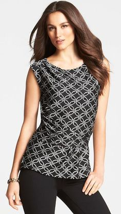 Trellis Print Banded Peplum Top - Look sharp this season in a striking fusion of black and white, swirled in a deco-inspired trellis print. Tucks at right shoulder and waist side seams. Straight back. Black And White Tops, Shirt Blouses, Women's Shirts, Playing Dress Up, Ann Taylor, Peplum, Summer Outfits, Trellis, My Style