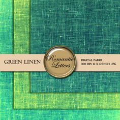 Green Linen digital paper pack digital by RomanticLetters on Etsy