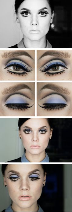 Mod makeup by Linda Hallberg. Like this look? Try Ben Nye's Pressed Eyeshadow in Cinderella Blue.