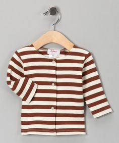 Take a look at this Chocolate & Cream Stripe Tee - Infant by Zutano on #zulily today!