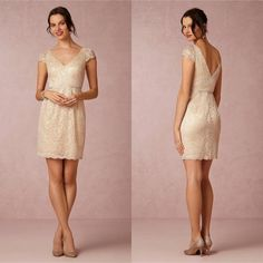 Short Lace Bridesmaid Dresses Personalized Wedding Evening Party Dresses For Women Juniors Cheap V-Neck Short Sleeve Maid of Honor Wear 2015 Online with $74.63/Piece on Sarahbridal's Store | DHgate.com