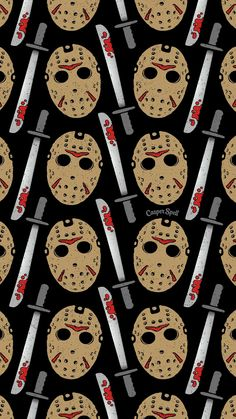 Friday the Jason Voorhees repeat pattern art surface design illustration ba Halloween Wallpaper Patterns Halloween Wallpaper Iphone, Fall Wallpaper, Halloween Backgrounds, Wallpaper Backgrounds, Backgrounds Free, Movie Wallpapers, Cute Wallpapers, Phone Wallpapers, Halloween Art
