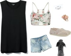Muscle Shirt With Lace Bandeau and toms Lace Bandeau, Muscle Shirts, Loose Shorts, Toms, Fashion Looks, Cute Outfits, Crop Tops, Floral, Quotes