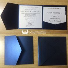 Navy Blue Square Pocketfold Wedding Invitations