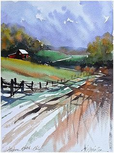 """Pastoral Scene - Ohio"" Thomas W Schaller - Watercolor. Pein-air sketch 27 April 2015  Google+"