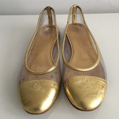 CHANEL GOLD LEATHER FLATS WITH PVC CLEAR DETAIL AUTHENTIC CHANEL GOLD LEATHER FLATS WITH PVC CLEAR DETAIL, SIZE 37.5, MADE IN ITALY, USED IN EXCELLENT CONDITION CHANEL Shoes Flats & Loafers