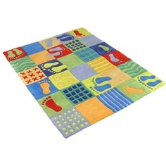 MULTI COLOUR FOOT PRINTS THICK PLUSH KIDS RUG