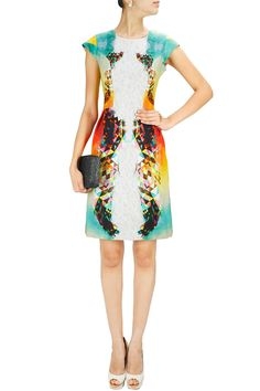 Off-white multicolour feather print dress. BY ASHISH SONI Shop now at: www.perniaspopups... #perniaspopupshop #designer #stunning #fashion #style #beautiful #happyshopping #love #updates