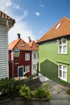 Brightly painted houses up the hill in Bergen's suburbs. Image by Justin Foulkes / Lonely Planet Traveller.