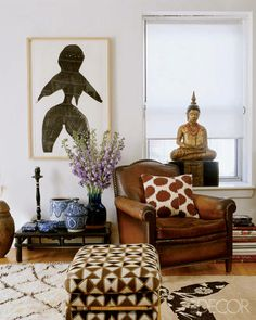 Madeline Weinrib Vintage Moroccan Carpet in Madeline Weinrib's NYC apartment, via Elle Decor; photograph by Simon Upton