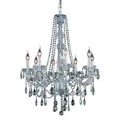 Elegant Lighting 8 Light Chandelier Chrome Finish Golden Teak, Smoky Crystal-EL7958D28C-GT/RC - The Home Depot