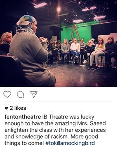 Thank you for sharing this meeting with the school. Former French teacher Melissa Saeed returned to FHS to inspire IB Theatre for their next production To Kill A Mockingbird. The theme of the novel displays the racism in the South during the 1930's-'40's and is also the main message of the upcoming play.