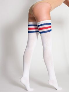 Shop Women's American Apparel Blue Red size OS Hosiery & Socks at a discounted price at Poshmark. Knee High Socks, Thigh Socks, Tall Socks, American Apparel, Yellow Socks, Girl Outfits, Cute Outfits, Kids Swimwear, Nike Clothes
