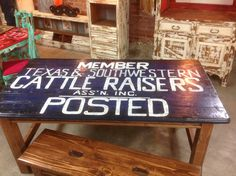 Texas Cattle Raisers dinner table with 2 benches | The Cocky Hen