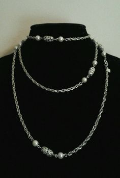 """Vintage Silver Sarah Coventry Long Beaded Ornate Toggle 26"""" Statement Necklace #SarahCoventry #Chain"""