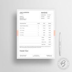 Invoice Template 05 - Receipt Template - Invoice Template for Microsoft Word - Estimate Template - Quote Template