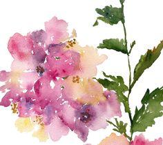 Hydrangea Flower Watercolor, Fine Art Print 8.5x11, Watercolor Flowers. $20.00, via Etsy.