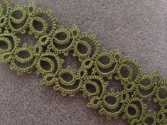 "Handmade, shuttle tatted lace bracelet, ""Figure Eight"" in olive green Tatting Armband, Tatting Bracelet, Lace Bracelet, Tatting Jewelry, Bracelets, Needle Tatting, Tatting Lace, Lace Patterns, Crochet Patterns"