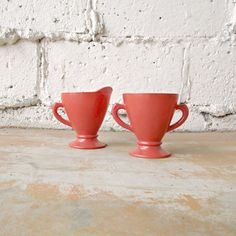 Vintage Cream and Sugar, Hazel Atlas Rust Pumpkin Color Milk Glass, Ovide Platonite Orange Salmon Set, 1950s Kitchen Serving, Iridescent by viAnneli on Etsy
