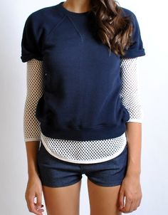 altered sweatshirt layers with netted top