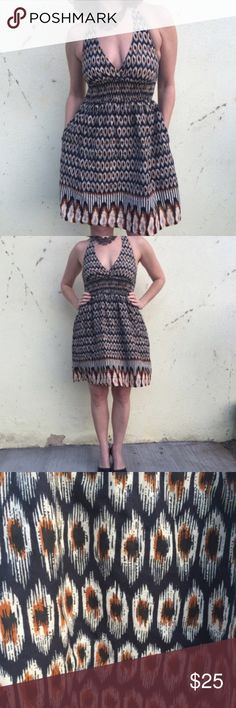 cotton HALTER DRESS tribal print Sz S/M pockets ANTHROPOLogIE cotton HALTER tribal print DRESS by Fire Los Angeles. With pockets! Marked as a small fits medium too. Halter tie and elastic waist band creates an hourglass shape! (J1) Anthropologie Dresses Midi
