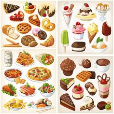 A collection of four beautiful vector food clip art sets with tasty dishes, pastries, chocolate sweets and ice-cream images. They can be used for nice food related logo designs (for cafe or restaurant menus), for vector posters or card templates,… Tasty Dishes, Food Dishes, Easy French Recipes, Food Art, Food Food, Inkscape Tutorials, Food Vocabulary, Food Clipart, Food Icons