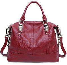 Qiwang Genuine Leather Luxury Style Soft Tote Top Handle Shoulder Crossbody  Bag Satchel Purse Handbag for Women wine     Visit the image link more  details. 0052bb5a65568