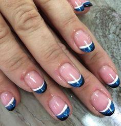Carolina Panthers French Tip Nails