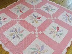 Very Pretty Vintage Pink Pinwheel Flower Appliqued Quilt ~ Lots of Feedsacks, eBay, vintageblessings