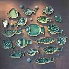 Ceramic Fish Starfish Shaped Decorative Hanging Decor Plate Set Decoration On Wall - Töpfern ideen - Plates Ceramics Projects, Clay Projects, Clay Crafts, Ceramics Ideas, Modern Ceramics, Contemporary Ceramics, Slab Pottery, Ceramic Pottery, Ceramic Art
