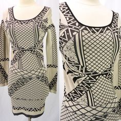 Intimately Free People Not An Illusion Bodycon Stretch Dress M/L Beige Graphics #FreePeople #StretchBodycon