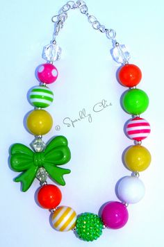 Green Ribbon Necklace - $15    Such a cute little girl necklace    www.facebook.com/SparklyChic  www.sparklychicjewels.com