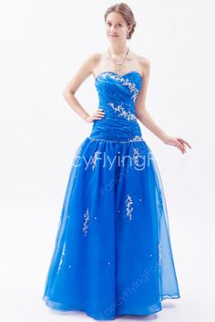 Affordable Sweetheart Neckline A-line Floor Length Royal Blue Military Ball Gowns