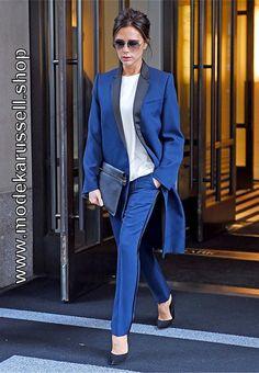 Damen Hosenanzug mit Langem Blazer in Blau