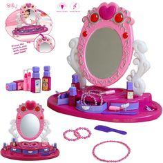 Girls Princess Glamour Mirror Dressing Table Vanity Beauty Play Set Light/Music