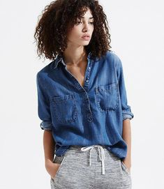 c5cceb558491e0 Primary Image of Lou  amp  Grey Chambray Easy Shirt   fashionover40springchambrayshirts What Should I Wear
