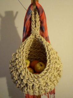 hanging crochet basket Sisal Crochet Basket storage by RopeLove