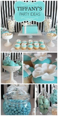 A lovely Tiffany blue bridal shower with pretty party decorations and cupcakes! Tiffany Blue Party, Tiffany Birthday Party, Tiffany Theme, Tiffany Wedding, Tiffany And Co, Tiffany Blue Decorations, Tiffany Blue Cupcakes, Blue Party Decorations, Tiffany Engagement