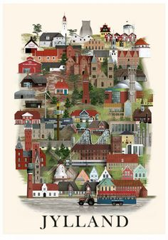 The series of city prints signed by Martin Schwartz pay homage to the variety of buildings that can be found in every city. For each design, the artist invests Danish Culture, Building Illustration, Max Ernst, Georges Braque, Scandinavian Interior Design, Aarhus, City Maps, Keith Haring, Henri Matisse