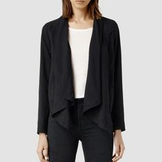 All Saints Kwar Jacket A signature waterfall front jacket, in classic black. Made in lightweight tencel, draped and soft to the touch. Detailed with contrast panelling, finished in Turkey.100% tencel, contrast: 80% viscose, 20% polyamide, lining: 80% viscose, 20% polyamide, sleeve lining: 100% polyester. Dry clean only. US size 4. All Saints Jackets & Coats