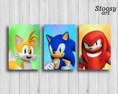sonic the hedgehog print set of 3 sonic birthday nintendo painting sonic party Hedgehog Birthday, Sonic Birthday, Sonic Party, Kids Canvas Art, Rainbow Loom Patterns, Sonic Fan Art, 10th Birthday Parties, Boy Room, Cute Drawings