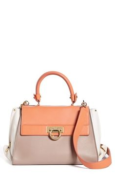 $2,150, Multi colored Leather Satchel Bag: Salvatore Ferragamo Sofia Colorblock Leather Satchel Small. Sold by Nordstrom.