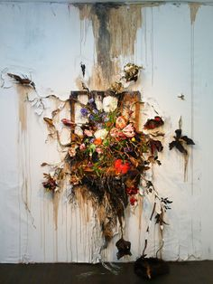 Valerie Hegarty - Flower Frenzy, 2012  Canvas, Stretcher, Acrylic Paint, Paper, Glue, Foil, Wire, Artificial Foliage and Flowers, Sand, Thread