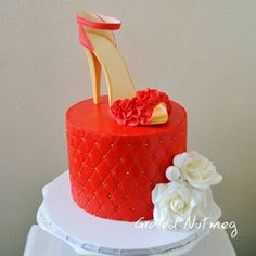 Red is the color of love, passion, desire and lust. High Heel Cakes, Shoe Cakes, Beautiful Cakes, Amazing Cakes, Fondant Cakes, Cupcake Cakes, Fashionista Cake, Lol Doll Cake, Chanel Cake