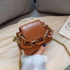 Cute Mini Chain Crossbody Bags For Women Handbag Casual Leather Ladies Designer Purse Chic Handbags Girls Shoulder Messenger Bag - brown Luxury Purses, Luxury Bags, Handbag Patterns, Creation Couture, Mini Crossbody Bag, Small Bags, Fashion Bags, Style Fashion, Bag Accessories