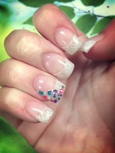 French manicure #sparkle #gems #white #manicure #tips #nails #gel