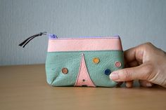 Leather mini pouch Purse Upcycled Paris La tour by takakutsu, $28.00