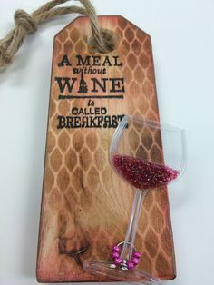 Wine bottle tag with wine glass charms wine by CaninosArtisticCafe