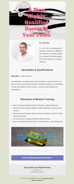 A ready made doctor email template that physicians & different hospitals can use for sending emails to their patients. Good Doctor, Doctor In, Heart Murmur, Real Estate Business, Email Templates, Chicago Illinois, The Covenant, Hospitals, Clinic